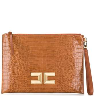 Elisabetta Franchi crocodile effect clutch