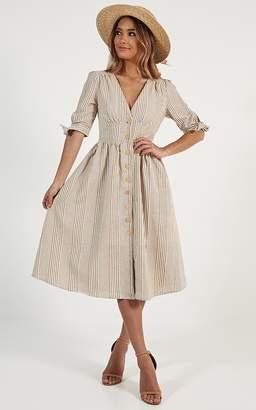 Showpo Reflection Dress in mustard stripe linen look