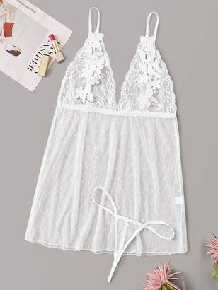 Shein Floral Lace Sheer Cami Dress With Thong
