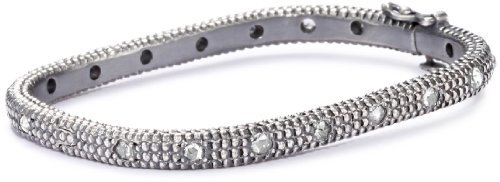 "Moritz Glik New Wave"" Oxidized Silver and Rosecut Diamond Bracelet"