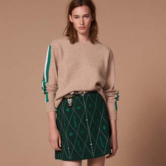 Sandro Short embroidered knit skirt