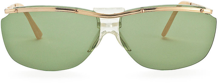 Vintage Sunglasses Vintage Green-Tinted Aviator Wire Sunglasses