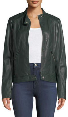 Neiman Marcus Leather Collection Patent Leather-Trim Leather Jacket