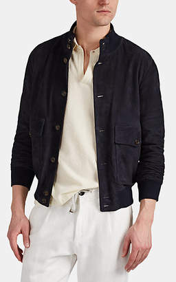 Eleventy Men's Suede Bomber Jacket - Navy