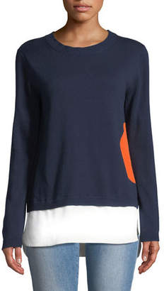Lisa Todd Dot Sweater with Shirting Hem, Plus Size