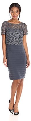 Betsy & Adam Women's Short Sleeve Lace Popover Dress $219 thestylecure.com