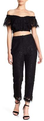 WAYF Rennes High Waist Crop Lace Pants