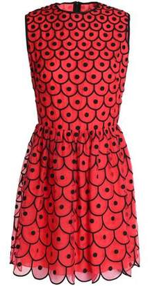 RED Valentino Embroidered Organza Mini Dress