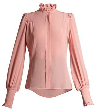 Isabel Marant Sloan Ruffled High Neck Blouse - Womens - Light Pink