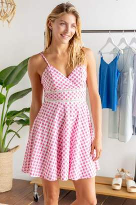 francesca's Isabella Eyelet Skater Dress - Chambray