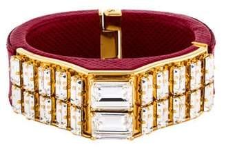 Prada Crystal & Saffiano Leather Bracelet