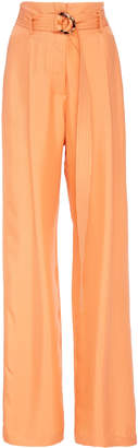 Sally LaPointe Silky Twill High-Rise Belted Pants