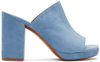 Robert Clergerie Blue Suede Abrice Mules $550 thestylecure.com