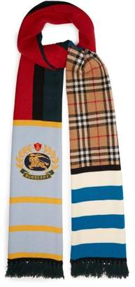Burberry Knight Embroidered Cashmere Blend Scarf - Womens - Multi