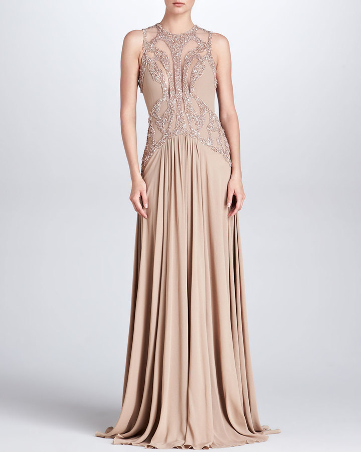 Elie Saab Beaded Cutout Gown, Bisque