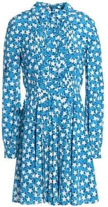 Valentino Pleated Printed Silk Crepe De Chine Mini Shirtdress