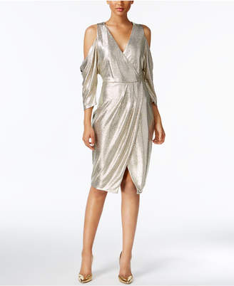 Rachel Roy Cold-Shoulder Metallic Wrap Dress