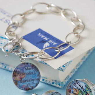 EVY Designs Personalised Location Silver Map Bracelet