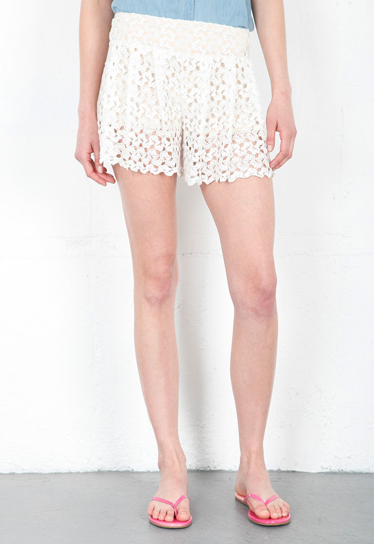 T-Bags T Bags Crochet Short in Ivory