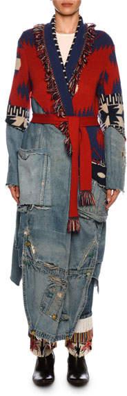 Alanui x Icon Patchwork Long Cashmere & Denim Cardigan
