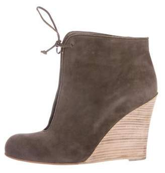 Christian Louboutin Suede Round-Toe Ankle Boots Brown Suede Round-Toe Ankle Boots