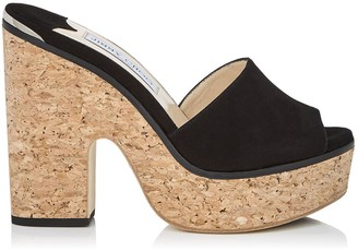 Jimmy Choo DEEDEE 125 Black Suede Sandal Wedges