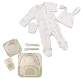 Natural Baby One-Piece Pajamas, Hat, Mittens & 5-Piece Feeding Set