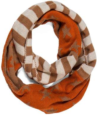 HUAN XUN Patriotic American USA Flag Knit Infinity Loop Winter Scarf, Orange Khaki White