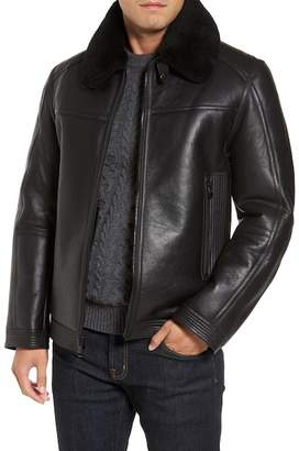 Andrew Marc Leather Jacket w/ Genuine Shearling Trim & Lining