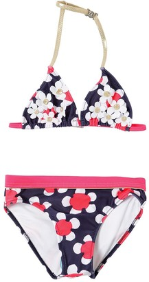 Little Marc Jacobs Printed Lycra Bikini W/ Flower Appliqués