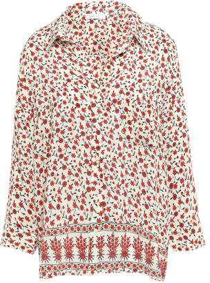 Anine Bing フローラルプリント ウォッシュ加工シルク シャツ