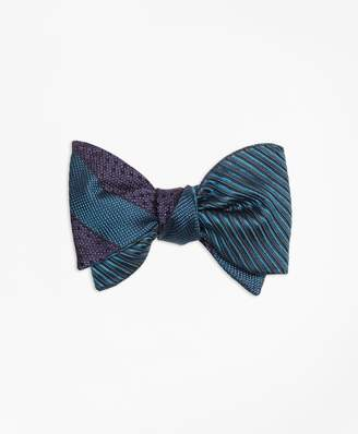 Brooks Brothers Framed Textured Stripe with Horizontal Textured Reversible Bow Tie