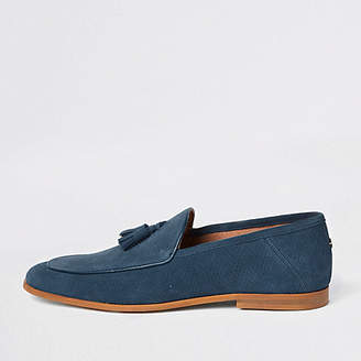 River Island Blue suede wasp embroidered loafers
