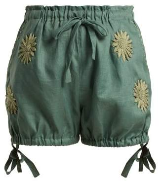 Innika Choo - Floral Embroidered Bloomer Shorts - Womens - Khaki