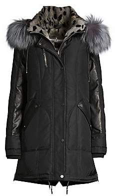 Nicole Benisti Women's Chelsea Rabbit & Fox Fur Down Parka Coat