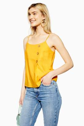 Topshop Womens Yellow Button Wrap Camisole With Linen - Marigold