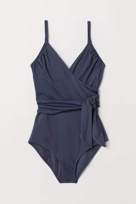 H&M Shaping Swimsuit with Ties - Blue