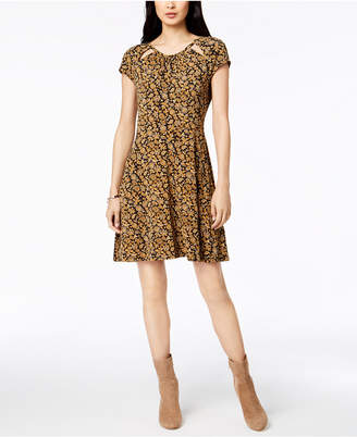 Michael Kors Printed Cutout A-Line Dress
