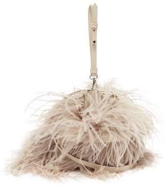 Marques Almeida Marques'almeida - Feather Embellished Leather Cross Body Bag - Womens - Beige