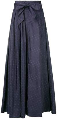 Max Mara flared spotted bow detail skirt