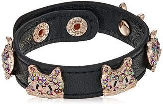 Betsey Johnson GBG) Cat Leather Snap Bracelet