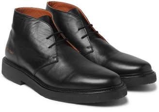 Common Projects Saffiano Leather Desert Boots - Men - Black