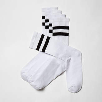 River Island Big and Tall white stripe socks multipack