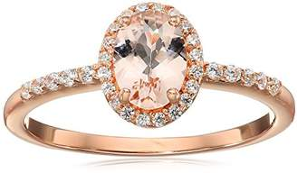 Rose Gold Plated Silver Morganite Oval Cubic Zirconia Accents Ring