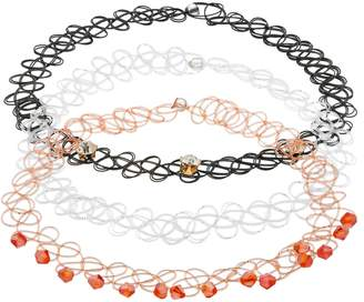 Beaded & Simulated Crystal Tattoo Choker Necklace Set