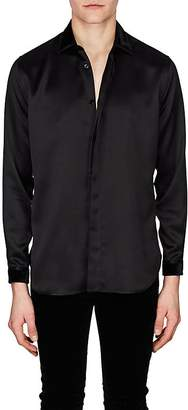 Saint Laurent Men's Velvet-Trimmed Silk Satin Shirt