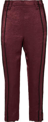 Ann Demeulemeester Cropped Striped Hammered-satin Pants - Burgundy