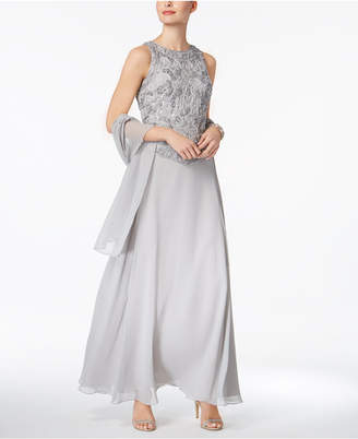 J Kara Illusion 2-Pc. Sequined Gown with Shawl