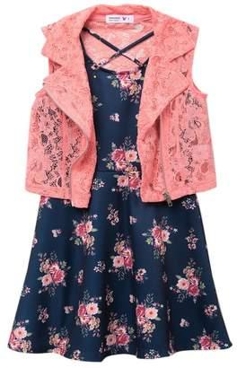 Beautees Lace Moto Jacket & Floral Print Dress (Big Girls)