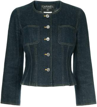 Chanel PRE-OWNED collarless denim jacket